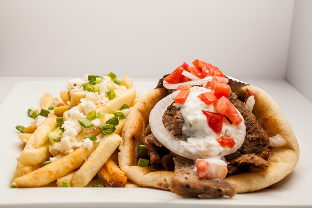 Gyro Pita Sandwich with Feta Fries